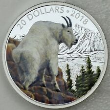 2018 $20 Majestic Wildlife: Mettlesome Mountain Goat Pure Silver Color Proof