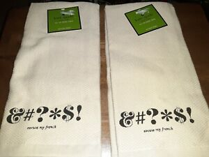 NWT Kate Spade Excuse My French SET OF 2 Kitchen Towel &#?*$!