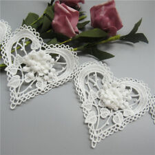5X White Flower Heart Lace Edge Trim Ribbon Wedding Dress Applique Sewing Craft