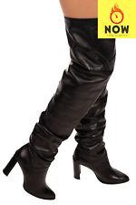 RRP €1250 STUART WEITZMAN Leather Over Knee Boots EU 37.5 UK 4.5 US 7 Gathered