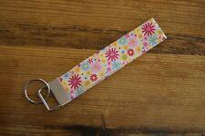 Handmade fabric key fob ring wristlet bag charm pink blue yellow flowers