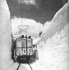 Bernina Railway Switzerland Train Snowdrift 1928 4x4 Inch Reprint Photo