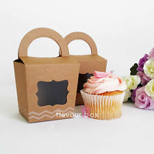 10x Kraft Single Cupcake Boxes Vintage Wedding Bomboniere Baby Shower Favour Box