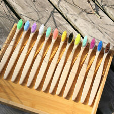 10PCS/Pack Natural Bamboo Toothbrush Eco Friendly Soft Medium Bristles For Adult