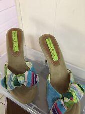 Materia Prima by Goffredo Fantini Tan Canvas Mule Sandals Size 37.5 7.5