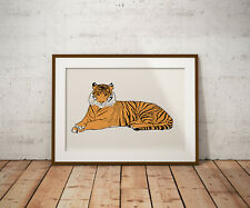 More details for tiger, wild animal print, poster, prints, posters, watercolour, wallart, gift,