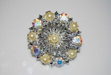 Vintage Couture Round Silver Toned Metal Pin With Pearls And Toned Rhinestones