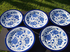 "BOMBAY COMPANY BLUE & WHITE CHINA (9) MATCHING ROUND PLATES 10 7/8"" DIA, UNUSED"