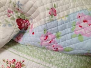 SHABBY COTTAGE CHIC BEACH HOUSE VINTAGE PINK ROSES PATCHWORK TWIN QUILT & SHAM