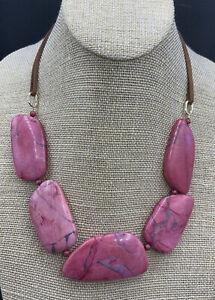 Barse Rose Magnesite Slab Necklace- Leather & Bronze- NWT