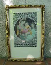 MADONNA DELLA SEGGIOLA SUR SOIE ENCADREMENT BOIS DORÉ TAILLÉ 46,5 x 31 cm.