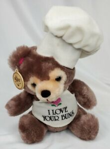 Vintage Russ Plush I Love Your Buns Teddy Bear Chef Stuffed Animal 8""