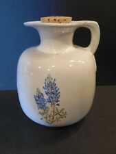Vintage Frankoma Pottery 833 Jug / Pitcher & Cork White Sand Blue Bonnet Lupine