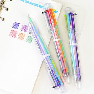 6 Farb Kugelschreiber blau, rot, grün,lila,orange+schwarz Mehrfarbig-Gesche S9P7