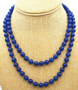 """Fashion Women's Natural 8mm Sapphire Blue Jade Round Beads Necklace 36"""" Long AAA"""
