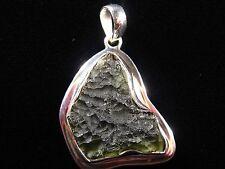 Pendant - Vibrant Green Czech Moldavite in .925 Sterling Silver Setting