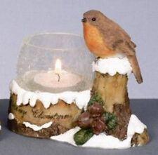 Festive Christmas Robin Tealight Candle Holder NEW 11298