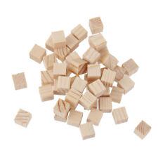 50pcs Natural Unfinished Wooden Square Cubes Blocks DIY Craft Wood Hardwood