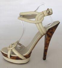 "GUCCI Cream Patent 6"" Animal Print Stiletto Heel Ankle Strap Shoes EU 41 UK 8"