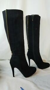 """Women's black suede ALDO knee high boot, zip sides, gold zip back 4 3/4"""" heel"""