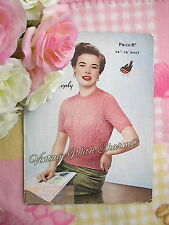 """Vintage Knitting Pattern Lady's """"Lace Look"""" Summer Top Jumper. Fit 34-36 Bust ."""