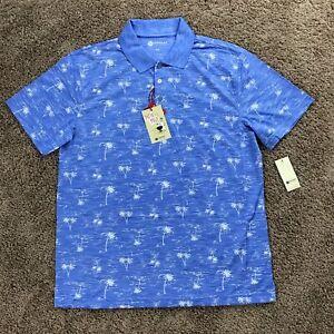 NEW Haggar Patio Polo Quick Dry Easy Care Blue Palm Tree Print S/S Polo Shirt M