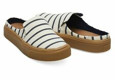 Toms Sunrise White/Navy Riviera Stripe Women's Mules Shoes Size UK 6.5 Eur 39