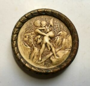 Antique Ivoroid Button Celluloid Paul & Virginia Shank High Detail Brass w Steel