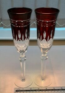 PAIR OF RUBY RED CUT TO CLEAR  CHAMPAGNE FLUTES IN GOOD CONDITION - WEDDING