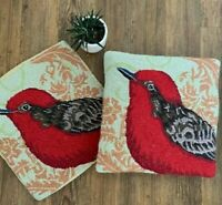 PAIR OF LG GORGEOUS AVES FLYCATCHER BIRD HOOKED WOOL PILLOWCASES- GRANDIN ROAD!