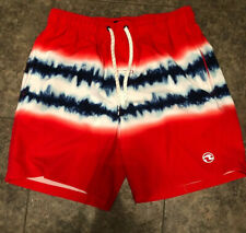 Ocean Current Board Shorts Mens Size S Surf Swim Beach Red White Blue