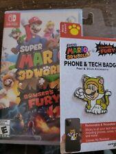 Super Mario 3D World + Bowser's Fury Nintendo Switch plus cat mario phone badge