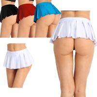 Women's School Girls Mini Skirts Low-waisted Elastic Micro Dress Sexy Nightwear