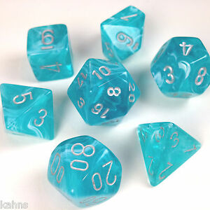 Chessex Dice Poly - Cirrus Aqua w/ Silver - Set of 7 - 27465 Free Bag! - DnD