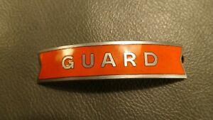 "British Railways (North Eastern) orange fishtail cap badge ""GUARD"" Gaunt London"