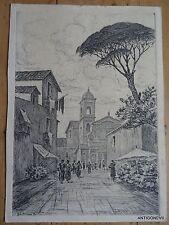 BELA SZIKLAY ARTISTE  HONGROISE  ESTAMPE DES ANNEES 30 RUE ANIMEE D'ITALIE