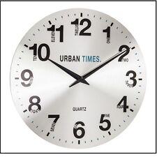 42cm London Clock Urban Times Contemporary Wall Clock Metal Brushed Large