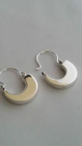 Real 925 Sterling Silver Large Curved Huggie Half Hoop Earrings + Gift Box