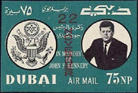 John F Kennedy Dubai 1964 Mint NH Imperforate Overprint
