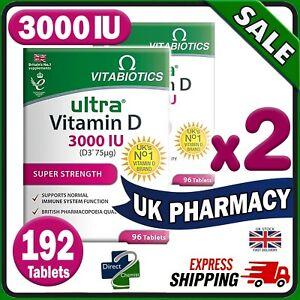 2x 96 Vitabiotics Ultra Vitamin Extra D3 3000IU Tablets -DOUBLE PACK UK PHARMACY