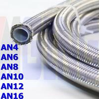 AN4 AN6 AN8 AN10 AN12 E85 PTFE Teflon Nylon/Steel Braided Fuel Line Hose 20FT