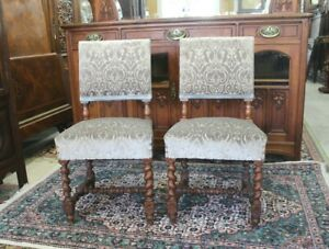 French Antique Pair Of Walnut Louis XIII Upholstered Chair