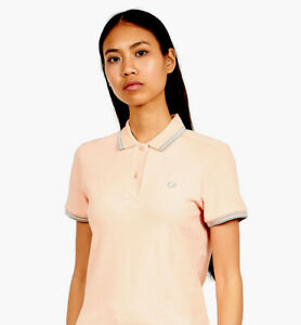 FRED PERRY Size 8  Genuine Ladies Twin Tipped Polo Shirt UK 8 BNWT Iced Coral