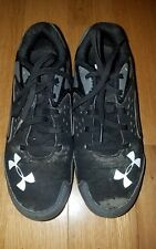 BOYS UNDER ARMOUR LEADOFF LOW BLACK GRAY WHITE BASEBALL CLEATS  SZ 2.5 Y YOUTH