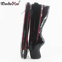 18cm Curved Heel Black Shiny Inner Lacing Locked Zipper Womens Mid Calf Boots sz