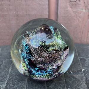 "Handmade Dichroic Glass Paperweight by Janet Wolery 1995 Meteorite 3 1/2"""