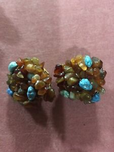 Turquoise And Brown Beaded Clip On Earrings
