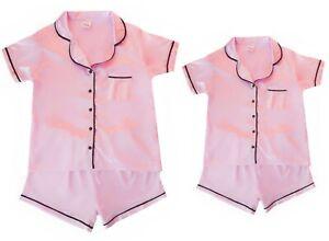 Ladies Womens Personalised Satin Silk Short Pyjamas Pink Gift 14-20