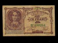 Belgium:P-86b,1 Franc,1918 * Queen Louise Marie * VF *