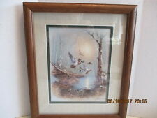 """13"""" x 11"""" Signed Wood Frame Glass Ducks in Flight Print  by Andres Orpinas"""